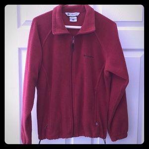 Columbia burgundy soft fuzzy jacket 2 drawstring